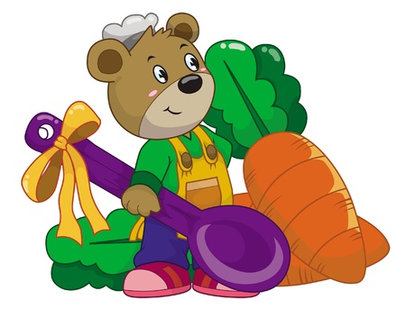 Cooking Bear01 Vector