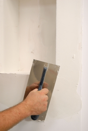 plastering: white parget on the wall