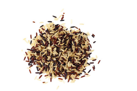 Brown, red and black rice mix on white background