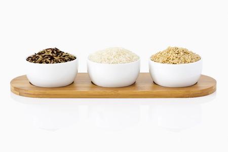 Rice mix on a bamboo tray photo