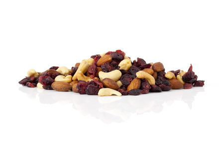 superfruit: Healthy snack of dried fruits on white background. Stock Photo