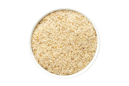 Psyllium husk in a cup from above isolated on white background Stok Fotoğraf