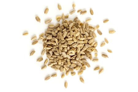 semillas de girasol: Las semillas de girasol de arriba aislado en el fondo blanco