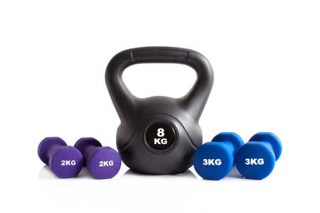 Gym exercise equipment isolated on a white background.