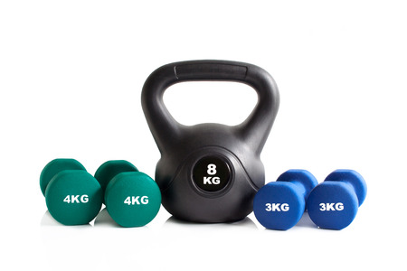 Gym exercise equipment set isolated on a white background.