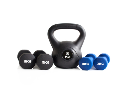 Blue and black gym exercise equipment isolated on a white background. Stok Fotoğraf