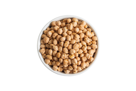 Chickpeas on white background from above in a cup. Stok Fotoğraf