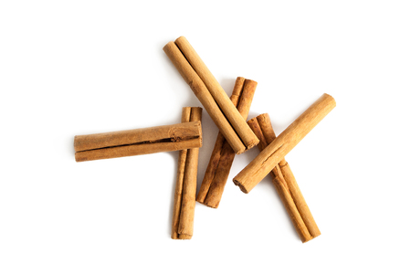 Cinnamon sticks from above isolated on a white background. Stok Fotoğraf
