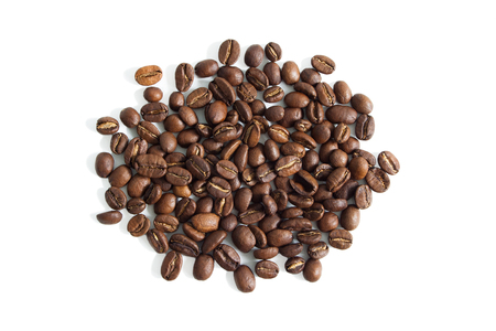 Coffee beans from above isolated on a white background. Stok Fotoğraf