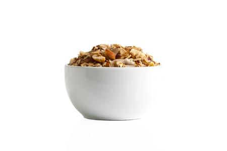 Isolation of a gluten-free granola on a white background. Stok Fotoğraf