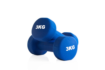 3kg pair of blue dumbbells isolated on a white background. Stok Fotoğraf