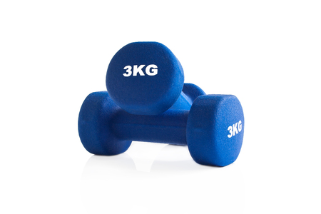 Blue 3kg dumbbells for a fitness training isolated on a white background