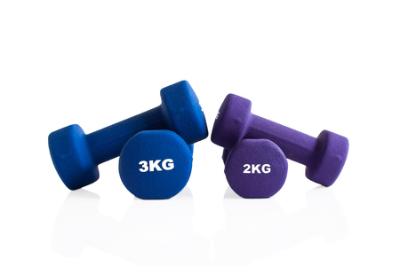 2kg and 3kg dumbbells workout weights isolated on a white background.