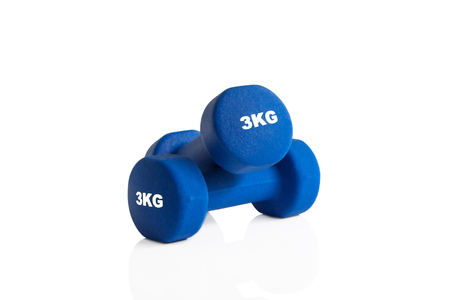 3kg blue gym dumbbells isolated on a white background.
