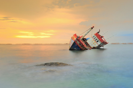 beached: The wrecked ship, Thailand