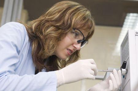 chemist inject sample  photo