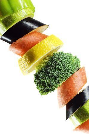 vegetables on a spit