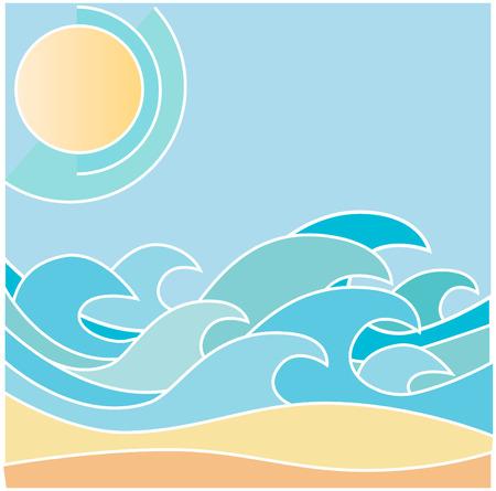 sea waves,sun and beach Vector