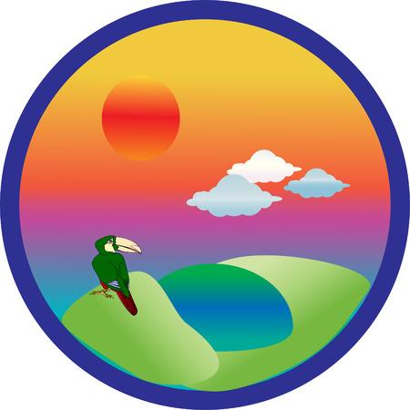 winter wheat: Four seasons set icons. Vector.Summer. Illustration