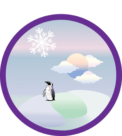 winter wheat: Four seasons set icons. Vector.Winter.