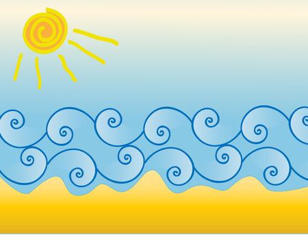 sun sea waves and beach Stock Vector - 2834015