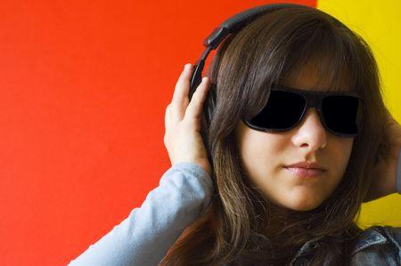 girl listening to music Stock Photo - 2838950