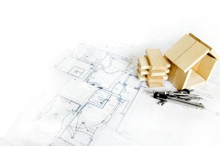 blueprint , wooden model of house and drawing tools Stok Fotoğraf