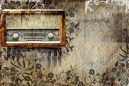 old radio: vintage radio music grunge design