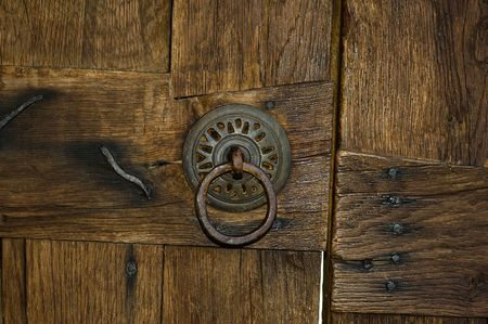 old lock on wood door photo