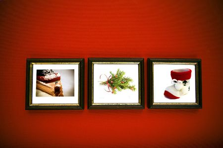 christmas frames on red wall photo