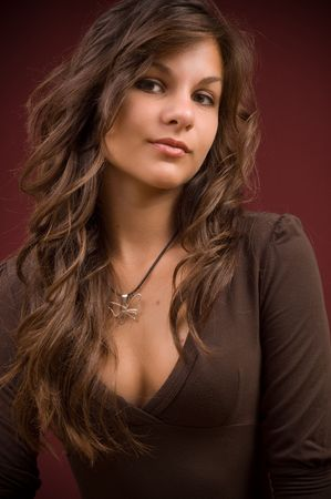 portrait of a beautiful young woman brunette Stok Fotoğraf