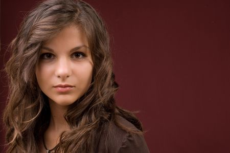 portrait of a beautiful young woman brunette Stock Photo
