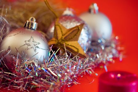 silver balls: christmas decoration with silver balls
