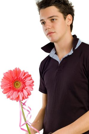 young male model giving a flower photo