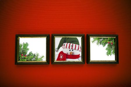 christmas frames on red wall Stock Photo - 3915709