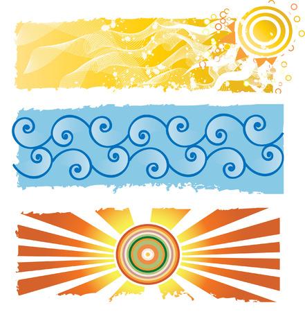 watery: tre natura banner Vettoriali