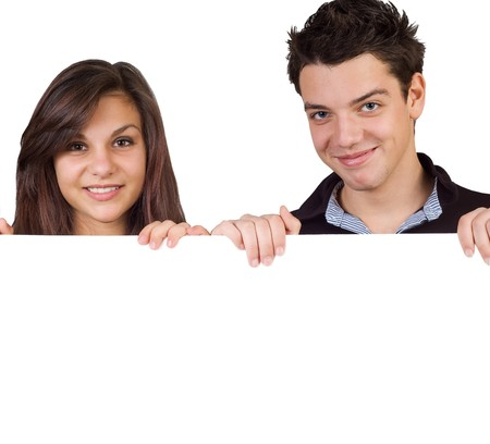 Young couple holding a sign,isolated photo