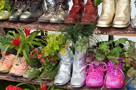 cottage garden: stand with flowers planted in shoes Stock Photo
