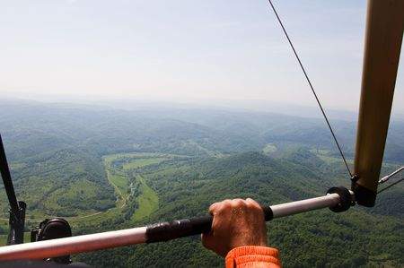 hang glider: flying with deltaplane.Aerial Photography.Strandja mountain,Bulgaria