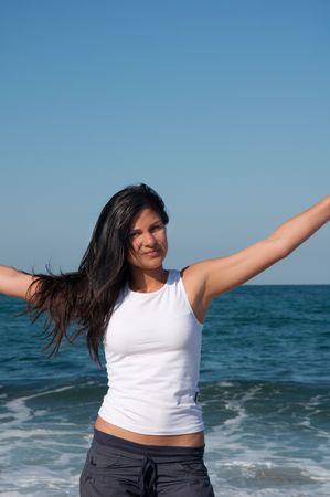 bulgaria girl: workout on the beach Stock Photo