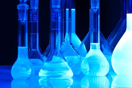 test tubes in blue light