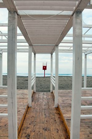 wooden structure of the beach restaurant in Winter photo