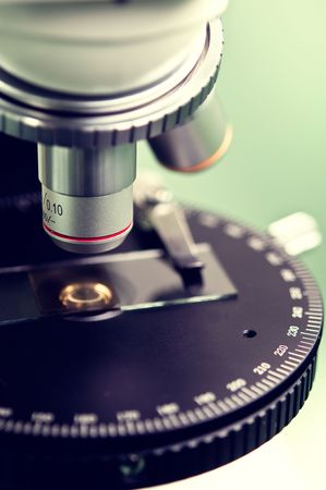 scientific experiment: microscope close-up Stock Photo