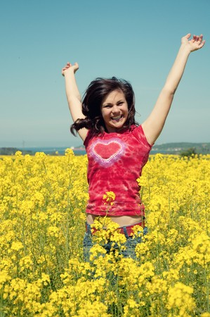 happy girl jumping photo