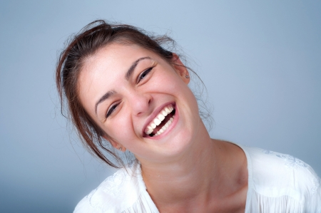 face to face: young woman smiling  Stock Photo