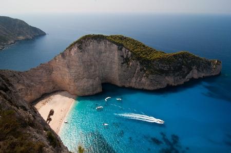 aerial: Navagio ,The famous shipwreck beach on the Zakynthos island, Greece