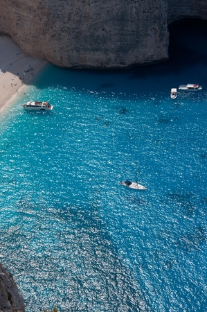 Navagio ,The famous shipwreck beach on the Zakynthos island, Greece photo
