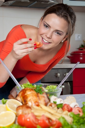 young woman preparing food  photo