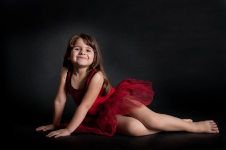 cute little girl with red dress