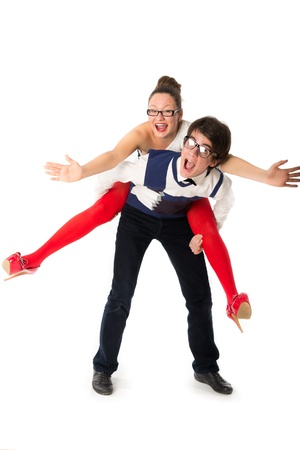 Funny young couple celebrating Valentine s Day photo
